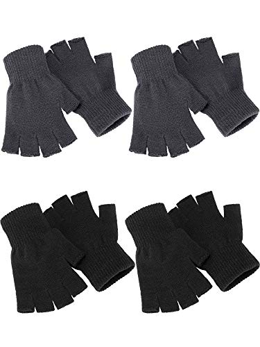 4 pares de guantes de invierno de punto sin dedos. Guantes elásticos y calientes para hombres y...