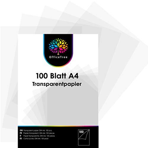 OfficeTree 100 Hojas de Papel Translucido A4 - Papel Acetato 100 g/m - Papel Cebolla A4 - Papel...