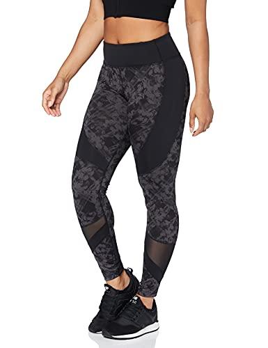 Amazon Brand - AURIQUE Leggings deportivos con paneles para mujer, Gris (Black/Grey Print Black/Grey...