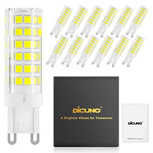 DiCUNO Bombillas LED G9 De 6W Equivalentes A Bomlillas Halógenas De 60W, Blanca Fría 6000K...