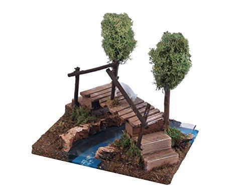 Río con puente y árboles 18x 16x 20cm. Accesorios para el belén