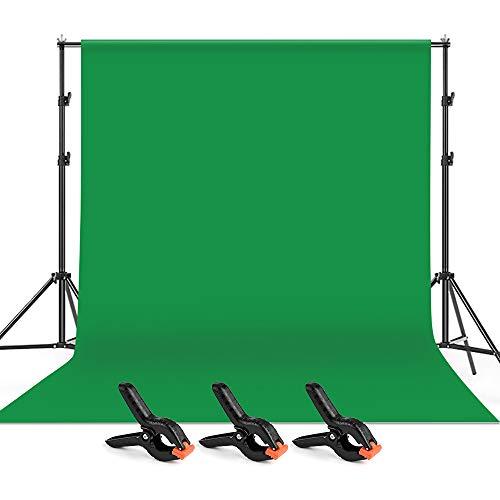 Andoer 6.5x9.8pie/ 2x3m Fondo Verde de Fotografía con Sistema de Soporte y 3 Abrazaderas, 1 Bolsa,...
