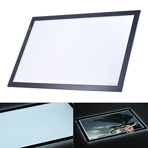 Aibecy A2 LED Mesa Tableta Caja de Luz Dibujo Portátil Control de brillo continuo con borde negro...
