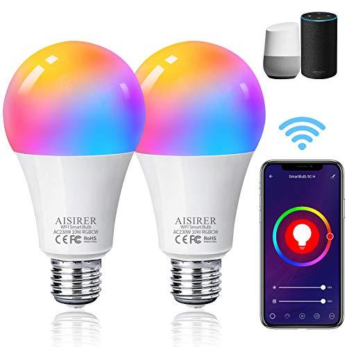 Bombilla LED Inteligente WiFi, AISIRER 10W 1000LM E27 Lámpara, WiFi Bombilla Luces Cálidas/Frías...