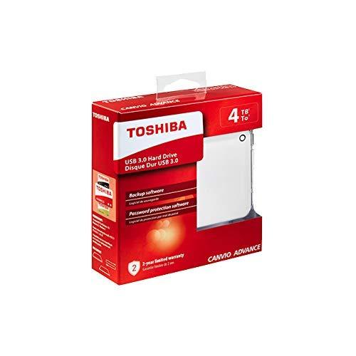 Toshiba Canvio Advance - Disco duro externo (4000 GB, 2.5', 2.0/3.0 (3.1 Gen 1), Blanco)
