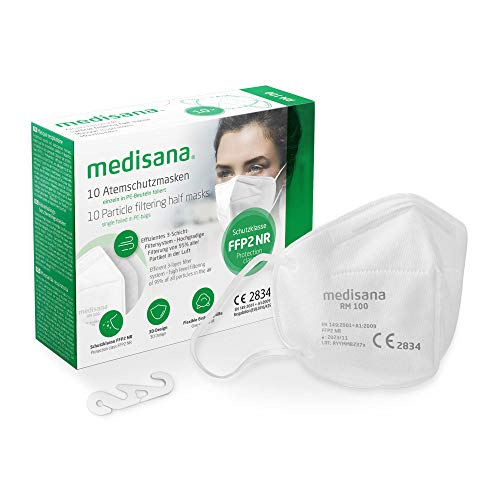 medisana FFP2 Máscara de protección, RM 100, máscara respiratoria, contra el polvo, 10 piezas...