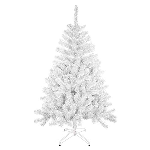 Solagua Árbol de Navidad Artificial Abeto de Hoja Espumillón 120-210cm Arboles C/Soporte (Blanco,...