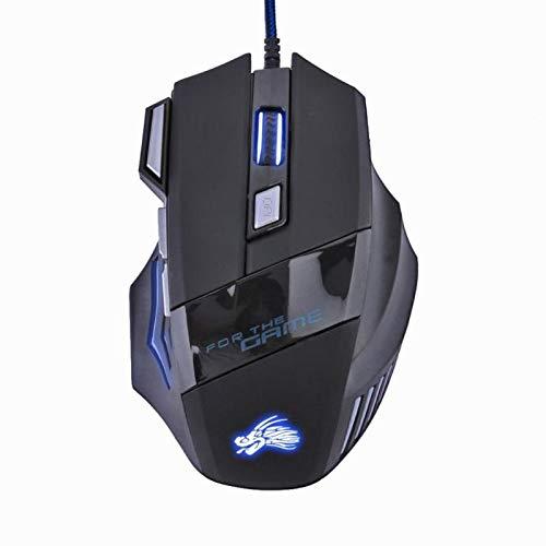 WSJQWHW 5500DPI óptico LED Gamer ratón USB con Cable de ratón del Juego 7 Botones Ordenador Gamer...