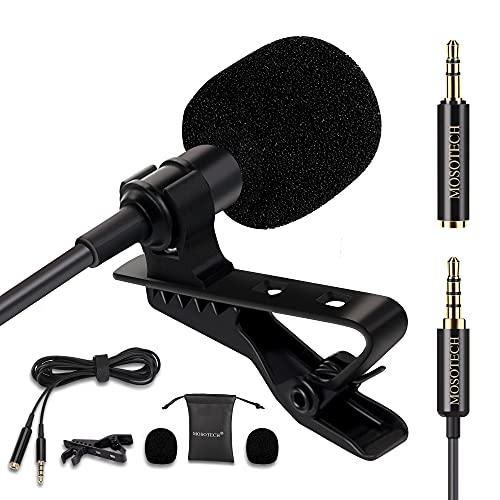 MOSOTECH Microfono Solapa, Omnidireccional Lavalier Microfono de Condensador con 2m (79') Cable de...