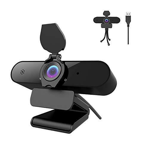 Webcam PC 2K/4MP/1440P con micrófono, Cámara Web Full HD con Webcam Cover Y trípode, Vista Gran...