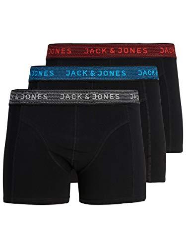 JACK & JONES JACWAISTBAND TRUNKS 3 PACK NOOS Bóxer, Gris (Asphalt Detail:hawaian Ocean & Fiery...