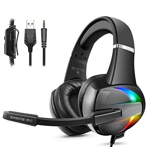 Cascos PS4, Auriculares con Micrófono Flexible, 50mm Driver Estéreo Envolventes, Orejeras Cómodas...