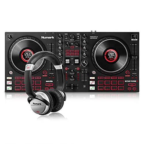 Numark Mixtrack Platinum FX + HF125 – Controlador DJ de 4 secciones para Serato DJ con mezclador...