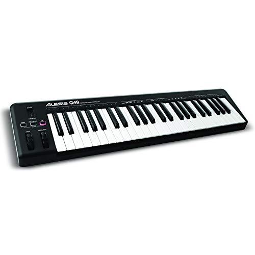 Alesis Q49 - Teclado controlador MIDI USB con 49 teclas sensibles a la velocidad, salida MIDI,...
