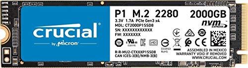 Crucial P1 CT2000P1SSD8 Disco Duro sólido Interno SSD de 2TB (3D NAND, NVMe, PCIe, M.2)