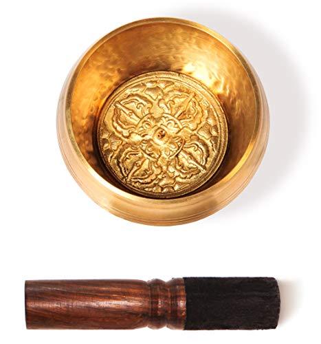 TARORO Cuenco Tibetano con 7 metales sin caja e cojín ~ Ø12,3cm ~ hecho a mano en Nepal ~ Diseño...
