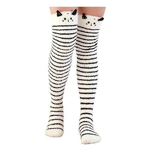 Binoster Cute Panda Muslo Calcetines a rayas largas Coral Fleece Warm Soft calcetines hasta la...