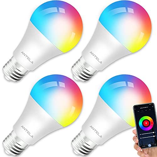 ANTELA Bombilla LED Inteligente WiFi E27 Sin Necesidad de Hub Compatible Alexa, Echo y Google Home,...
