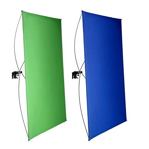 Neewer 100x140cm Pantalla de Fondo Azul/Verde Chromakey 2 en 1 Portátil con 4 Varillas Flexibles...