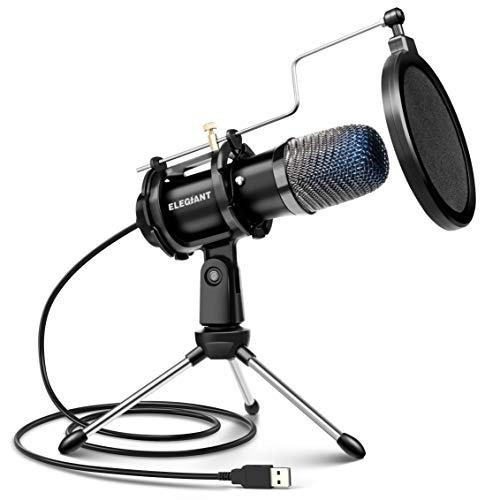 ELEGIANT Micrófono PC USB, Micrófono de Condensador PS4 con Trípode para Grabación de Estudio,...