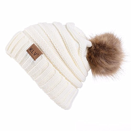 SHOBDW Hombres Mujeres Holgados Crochet cálido Invierno Lana de Punto Esqui Beanie cráneo Slouchy...