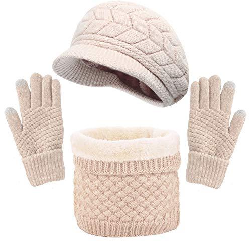 CheChury Gorras Invierno con Bufanda y Guantes Mujer Moda Calentar Sombreros Gorras de Punto Forro...