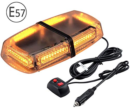 54 LEDs Luz Estroboscopica Coche LED Emergencia Faro de Seguridad Super Brillo Base Magnetica 7...