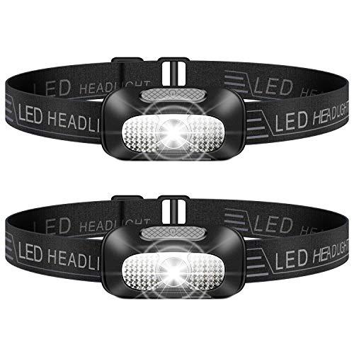 Linterna Frontal LED, 2 Piezas USB Rechargeable Linterna Cabeza, Ligero Impermeable Linternas...