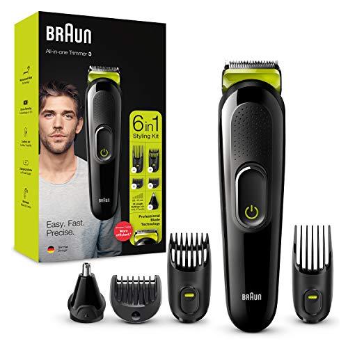 Braun Recortadora MGK3221 6 en 1, Máquina recortadora de barba, cortapelos, recortadora facial,...