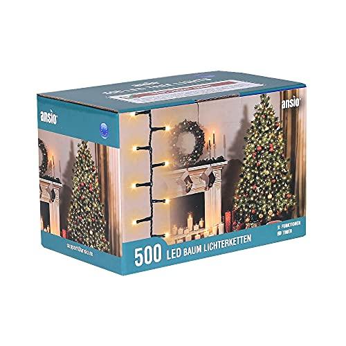 ANSIO Árbol de Navidad Luces 500 LED 12.5m Blanco cálido Luces interiores/exteriores Decoraciones...