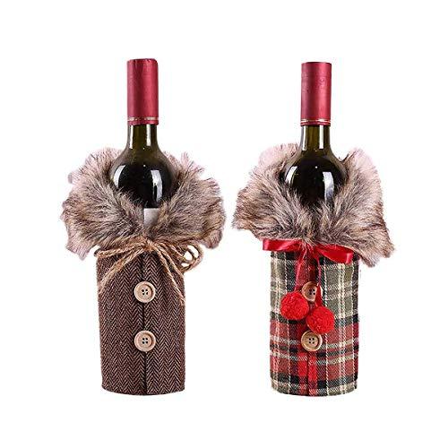 LIZHIGE Navidad Funda para Botella de Vino, 2pz Cubierta Botella Bolsas Botella Vino Rojo Navidad...