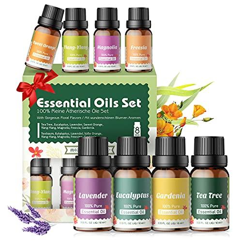 Aceites Essenciales Florales 100% Naturales,Top 8 Set de Aceites Esenciales Puros,Aromático para...