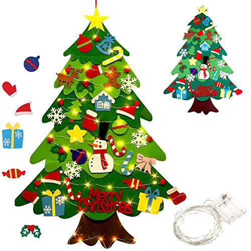 Outgeek Fieltro Árbol de Navidad, 3.2ft DIY Christmas Hanging Tree Set con 50 Luces LED 32 Piezas...
