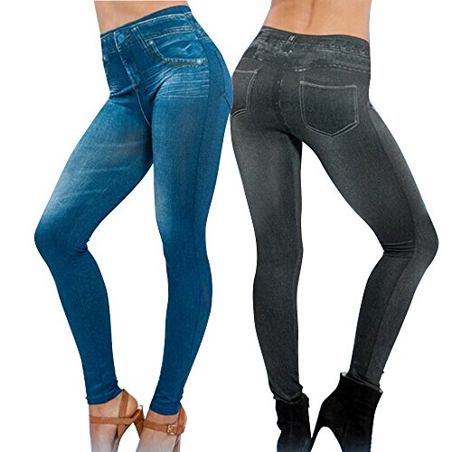 2Pcs Leggings Leggins Jeggings Vaqueros Pantalones Elásticos para Mujer Azul y Negro (CINTURA: 30...