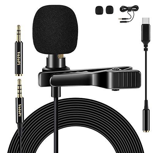 VoJoPi Micrófono de Solapa Tipo C con Cable de extensión de 79 Pulgadas, micrófono de Condensador...