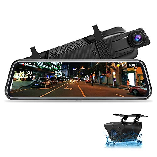 10' Mirror Dash CCM Pantalla Tácti Retrovisor, Delantera y Trasera 1080P Streaming Media con Cables...
