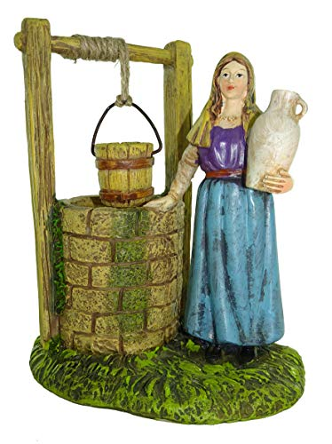 Figuras Belén: mujer cogiendo agua del pozo - Colección Martino Landi para nacimiento de 10 cm