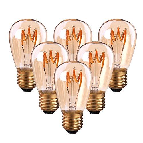 Bombilla de filamento LED en espiral ST45/S14 de 3 W (brillo ámbar), bombilla de jaula de ardilla...