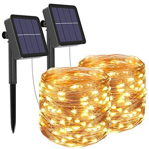 [2 Pack] Guirnaldas Luces Exterior Solar, Litogo Luces Led Solares Exteriores Jardin 12m 120 LED 8...