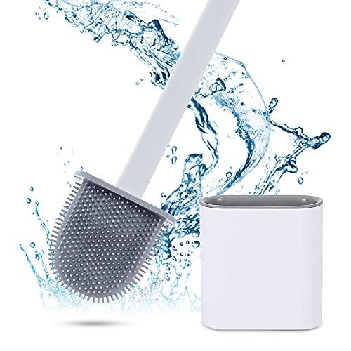 Escobilla de baño, escobilla de inodoro de silicona y recipiente, con mango largo, base antigoteo,...