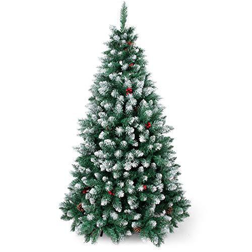 SunJas Árbol de Navidad Artificial Pino, Material PVC, Soporte Metal, 120/150/180/210cm Arbol...