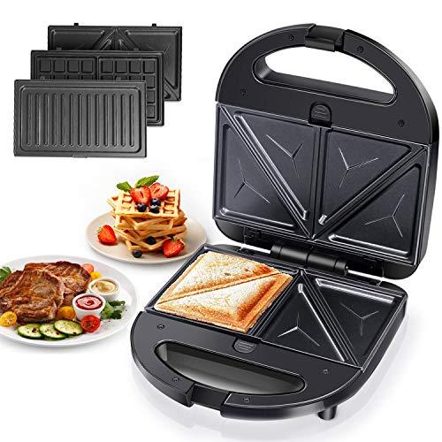 Aigostar Robin - Sandwichera 3 en 1: grill, gofres y sandwichera. 750W, placas antiadherentes...