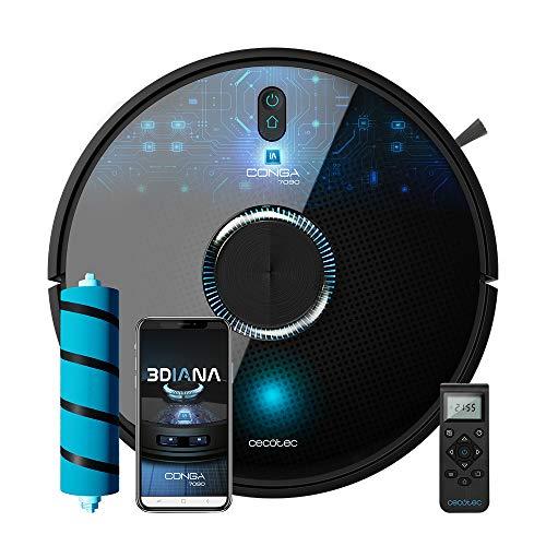 Cecotec Conga 7090 IA - Robot aspirador y fregasuelos, Inteligencia Artificial y Láser, Aspira,...