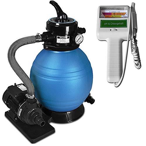Deuba Depuradora 10.200 l/h Bomba de Filtro de Arena con válvula con 4 Funciones + medidor de...