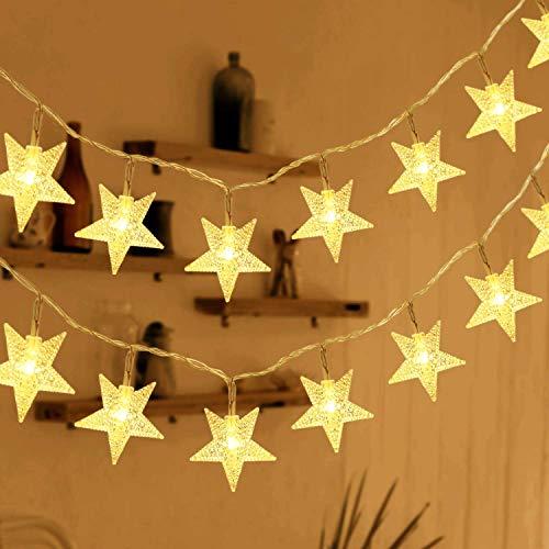 HOMVAN Guirnalda de Luces, Luces Estrellas de Hadas a Pilas 7,5 metros 50 luces LEDs Luces en Cadena...