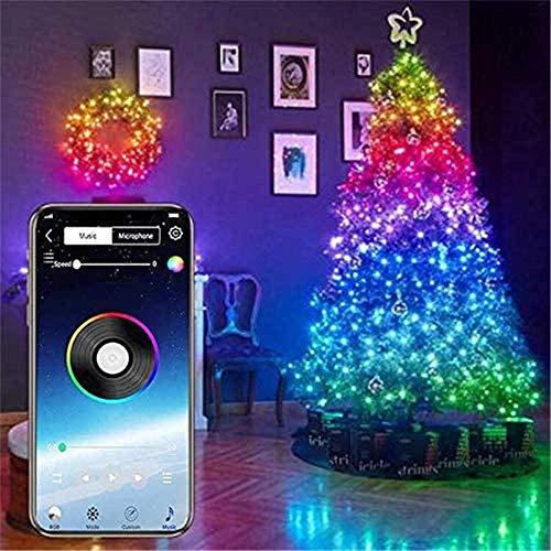 SILOLA Luces decoración árboles Navidad, Cadena Luces LED Bluetooth Personalizadas, Luz Control...