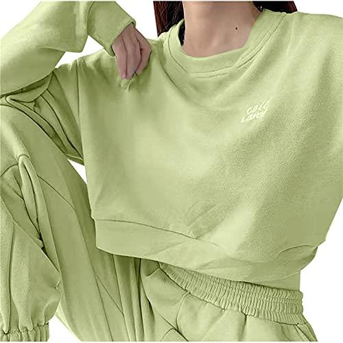 Zldhxyf Conjunto de sudaderas para mujer, monocolor, 2 piezas, jersey de manga larga Y2K, pantalones...