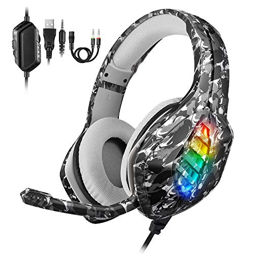 Casco Gaming PS4 REDSTORM, Auricular de Juegos, Micrófono Ajustable de Reducción de Ruido, Luz...