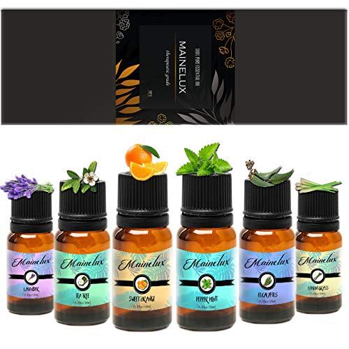 MAINELUX Aceites Esenciales para Humidificador, 100% Natural Puro Aromaterapia Top 6 Set de Regalo...