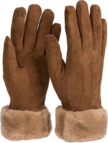 styleBREAKER guantes de mujer de tela monocolor con forro interior de pelo y costuras decorativas,...